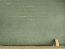 Blackboard with chalk and eraser Stock Images