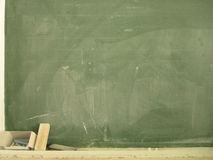 Blackboard with chalk and eraser Royalty Free Stock Photos