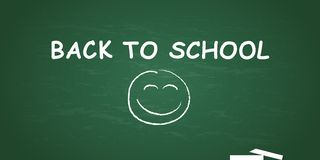 Blackboard with chalk and happy face with text back to school royalty free illustration