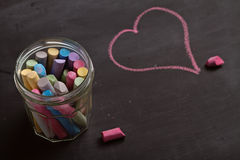 Blackboard, chalk and heart shape drawing Royalty Free Stock Photo