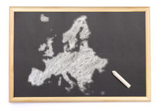 Blackboard with a chalk and the shape of Europe drawn onto. (ser Stock Photo