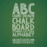 Blackboard chalkboard Chalk hand draw doodle abc,. Alphabet grunge scratch type font vector illustration Royalty Free Stock Photos