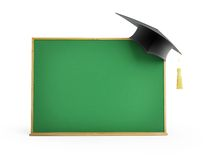 Blackboard, chalkboard, graduation cap 3d Illustrations Stock Photography
