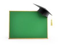 Blackboard, chalkboard, graduation cap 3d Illustrations Stock Photography