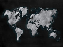 Blackboard or Chalkboard with map of the world Stock Photos