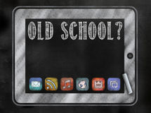 Blackboard or Chalkboard with tablet and app icons Royalty Free Stock Photos
