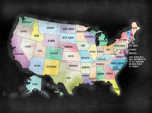 Blackboard or Chalkboard U.S.A. American States Map Royalty Free Stock Photography