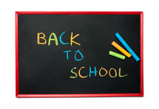 Blackboard and chalks with Back to school Royalty Free Stock Image