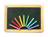 Blackboard and chalks in rainbow Royalty Free Stock Photography
