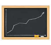 Blackboard with chart Stock Image