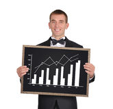 Blackboard with chart of profits Royalty Free Stock Photos