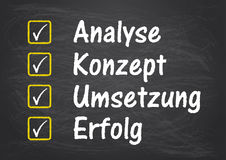 Blackboard Checklist Analyse Erfolg. German text Analyse Konzept Loesung Erfolg translate Analysis Concept Solution Succuss Stock Images