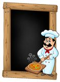 Blackboard with chef and pizza plate Stock Photos