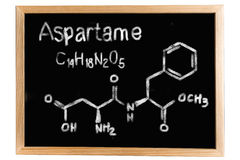 Blackboard with the chemical formula of Aspartame Stock Images