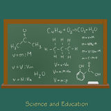 Blackboard with chemistry equations, vector, illustration, sketch Royalty Free Stock Photos