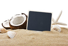 Blackboard and chopped coconut Royalty Free Stock Image