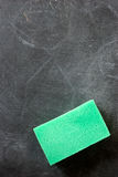 Blackboard with cleaning sponge Stock Image