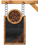 Blackboard with Coffee Beans and Copy Space Stock Photo