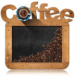 Blackboard with Coffee Beans and Text Coffee Royalty Free Stock Photos