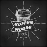Blackboard with coffee cup sketch. Blackboard with coffee cup and beans sketch Stock Photos