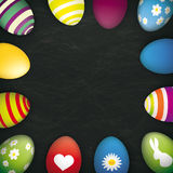 Blackboard Colored Easter Eggs. Blackboard with colored easter eggs Stock Photography