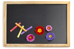 Blackboard with colorful chalks Stock Photo