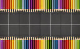Blackboard with colorful pencils stock illustration