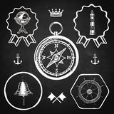 Blackboard compass bell lighthouse marine nautical vintage navigation location icon flat web sign symbol logo label Stock Photography