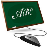 Blackboard and a computer mouse. On a white background royalty free illustration