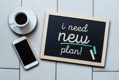 Blackboard concept saying I NEED NEW PLAN! Stock Image