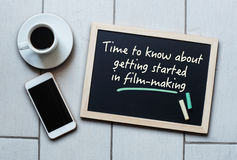 Blackboard concept saying Time to know about getting startedin Royalty Free Stock Image