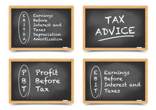 Blackboard Concept taxes. Detailed illustration of different blackboards with Tax terms Stock Photos
