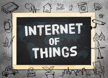 Blackboard on concrete wall  with doodle icon relate with Intern. Et of Things (IOT) , Technology concept Stock Images