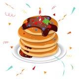Blackboard with a congratulation. Festive hat. Vector. Cute cartoon happy birthday cake with candles. Blackboard with a congratulation. Festive hat. Vector Royalty Free Stock Photos