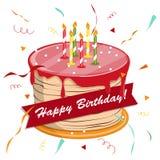 Blackboard with a congratulation. Festive hat. Vector. Cute cartoon happy birthday cake with candles. Blackboard with a congratulation. Festive hat. Vector Stock Photos