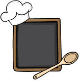 Blackboard with cook hat and wooden spoon. Scalable vectorial image representing a blackboard with cook hat and wooden spoon, isolated on white royalty free illustration
