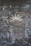 Blackboard covered with children's graffiti. Stock Photography