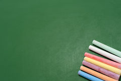 Blackboard with crayons Royalty Free Stock Images