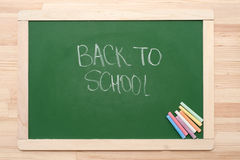 Blackboard with crayons Royalty Free Stock Photo