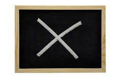 Blackboard with cross Royalty Free Stock Photography