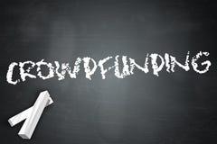 Blackboard Crowdfunding. Blackboard Illustration with Crowdfunding wording Stock Photos