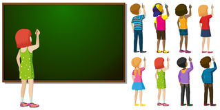 Blackboard and different character in writing action Royalty Free Stock Image