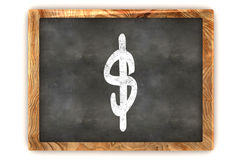 Blackboard Dollar. A Colourful 3d Rendered Illustration of a Blackboard showing a Dollar Sign Stock Photography