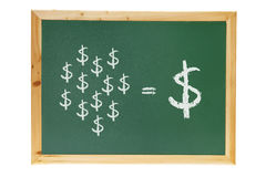 Blackboard with Dollar Signs. On White Background stock photo