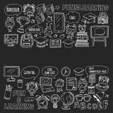 Blackboard  doodle set Children language school Kindergarten kids Pattern with doodle kids drawing style icons Play an Stock Photos