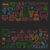 Blackboard  doodle set Children language school Kindergarten kids Pattern with doodle kids drawing style icons Play an Stock Photography