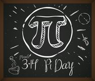 Doodle Drawing with Symbol, Pie and Date for Pi Day, Vector Illustration. Blackboard with doodles associated to celebrate Pi Day: pie cake, circle, ratio Stock Image