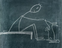Blackboard drawing. Chalkboard drawing with a man who is feeding an animal stock illustration