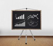 Blackboard with drawing chart Royalty Free Stock Photography