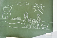 Blackboard with a drawing of a child Stock Image
